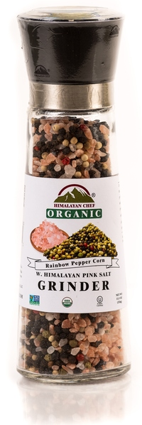 Blend of Organic Rainbow Pepper Corn & Himalayan Pink Salt in an Adjustable & Refillable Glass Grinder picture