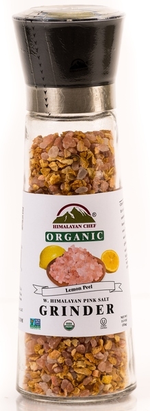 Blend Of Organic Lemon Peel With Himalayan Pink Salt in an Adjustable & Refillable Glass Grinder picture