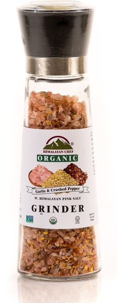 Blend Of Organic Garlic & Crushed Pepper With Himalayan Pink Salt in an Adjustable & Refillable Glass Grinder picture