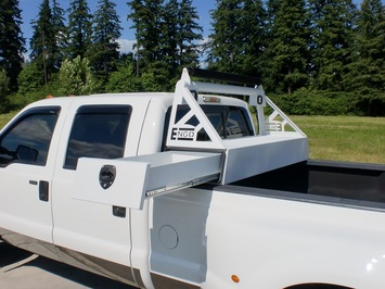 DODGE 2500/3500 10'-14' HEADACHE RACK WITH SIDE SLIDE TOOL BOX picture