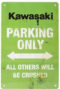 Kawasaki Only Vintage Parking Sign