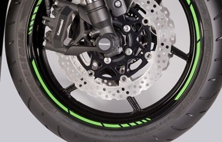 Kawasaki GP style rim tapes green picture