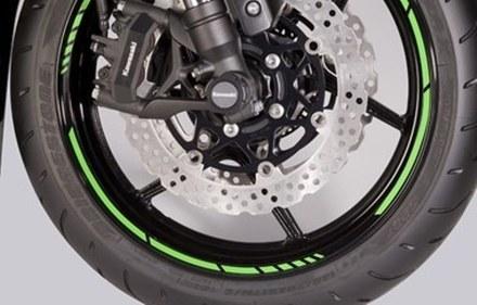 Kawasaki GP style rim tapes green picture