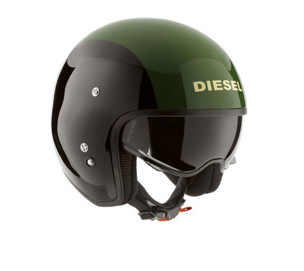 Hi-Jack Black/Green Diesel Motorcycle Helmet picture