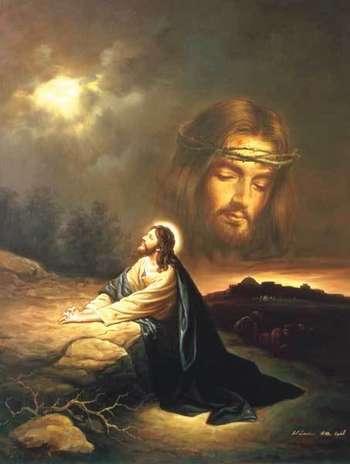 Praying at Gethsemane picture