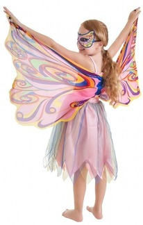 FANTASY DRESS W/GLITTER RAINBOW  FAIRY WING  - X SMALL picture