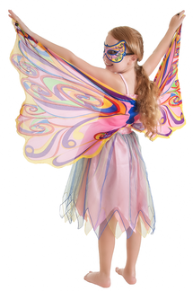 FANTASY DRESS W/GLITTER RAINBOW  FAIRY WING  -  SMALL picture