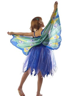 FANTASY DRESS W/PEACOCK WING  - X SMALL picture
