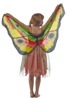 FANTASY DRESS W/YELLOW GLITTER BUTTERFLY WING - X SMALL picture