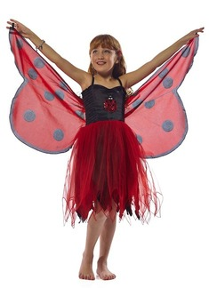 FANTASY DRESS W/GLITTER LADYBIRD WING  -  SMALL picture