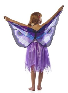 FANTASY DRESS W/PURPLE GLITTER BUTTERFLY WING - X SMALL picture