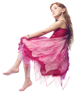 FANTASY DRESS W/GLITTER PINK FAIRY WING  - X SMALL picture