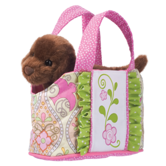PINK BIRD-TOTE W/CHOCOLATE LAB picture