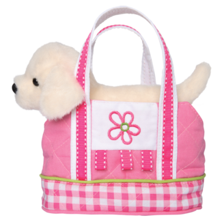PINK GINGHAM TOTE WITH CREAM LAB picture