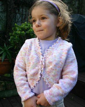 K588 Girl's Bolero in two yarn weigths picture