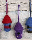 FT227 Felt Birdhouse Ornaments