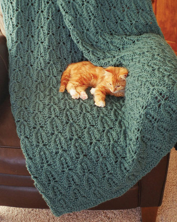 FT217 Leaf Lace Afghan - in bulky weight yarn picture