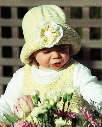 CH18 Garden Party Hat - with knit flower picture