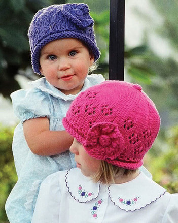 CH3 Child's Lace Cap - with knit flower picture