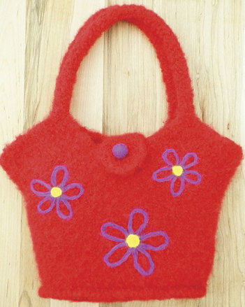 AC63 Flowers On The Go Felt Tote picture