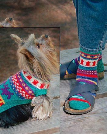AC46   Walking The Dog - Socks & Dog Coat picture