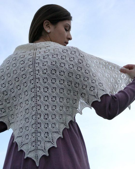 S2018 The Angel Lace Knit Shawl | Fiber Trends