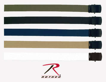 MILITARY COLOR WEB BELTS W/BLACK BUCKLE picture