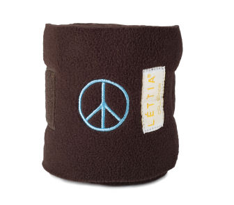 Lettia Embroidered Polo Wraps: Chocolate with Peace Sign picture