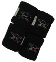 Lettia Embroidered Polo Wraps Black with Embroidered Skull HORSE picture