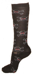 Lettia Boot Sock AD Black with Skulls picture
