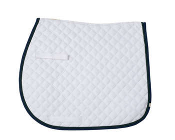 Cotton Quilted (CQ) Saddle Pad - White w/Navy & Hunter - 7191 picture