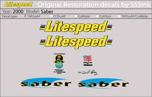 2000 Saber Decal Set picture