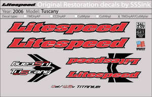 2006 Tuscany Decal Set picture