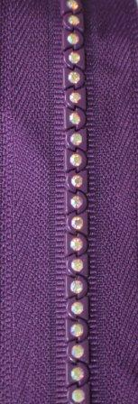 6&quot; Purple Multicolored Rhinestone Zipper picture