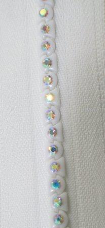 "12"" White Multicolored Rhinestone Zipper picture"