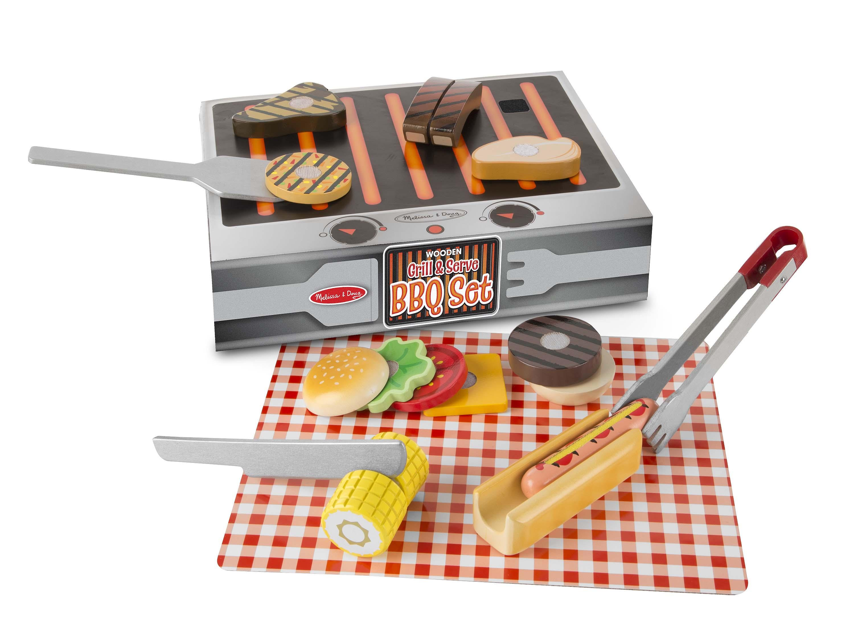Melissa & Doug Wooden Grill & Serve BBQ Set 9280