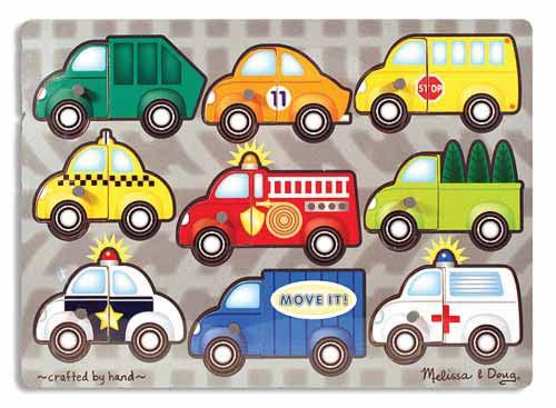 Melissa & Doug - Vehicles Mix 'n Match Peg Puzzle - 9...