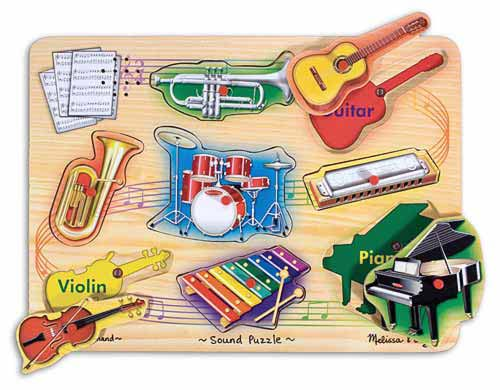 Melissa & Doug Musical Instruments Sound Puzzle - 8 Pieces