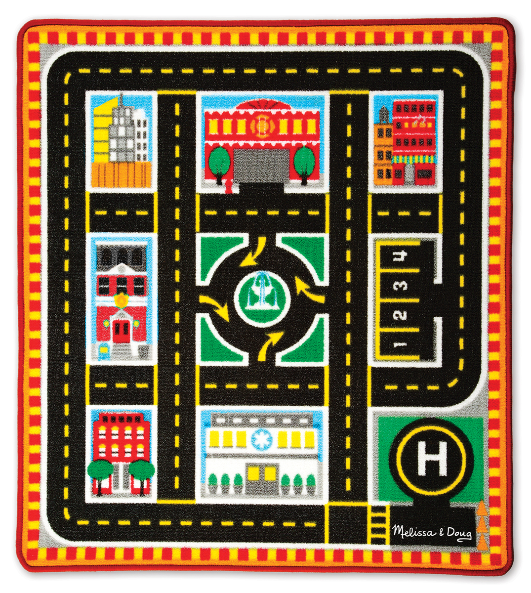 Melissa & Doug Round The City Rescue Rug & Vehicle Set 9406
