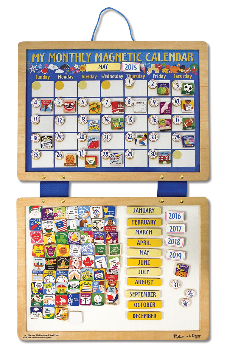 "MAGNETIC CALENDAR- 25"" x 16""~Melissa & and Doug ~wooden 