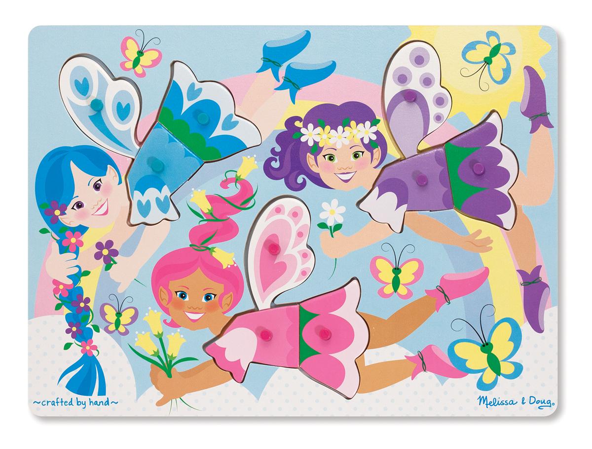 Melissa & Doug - Dress-Up Fairies Peg Puzzle - 9 Pieces