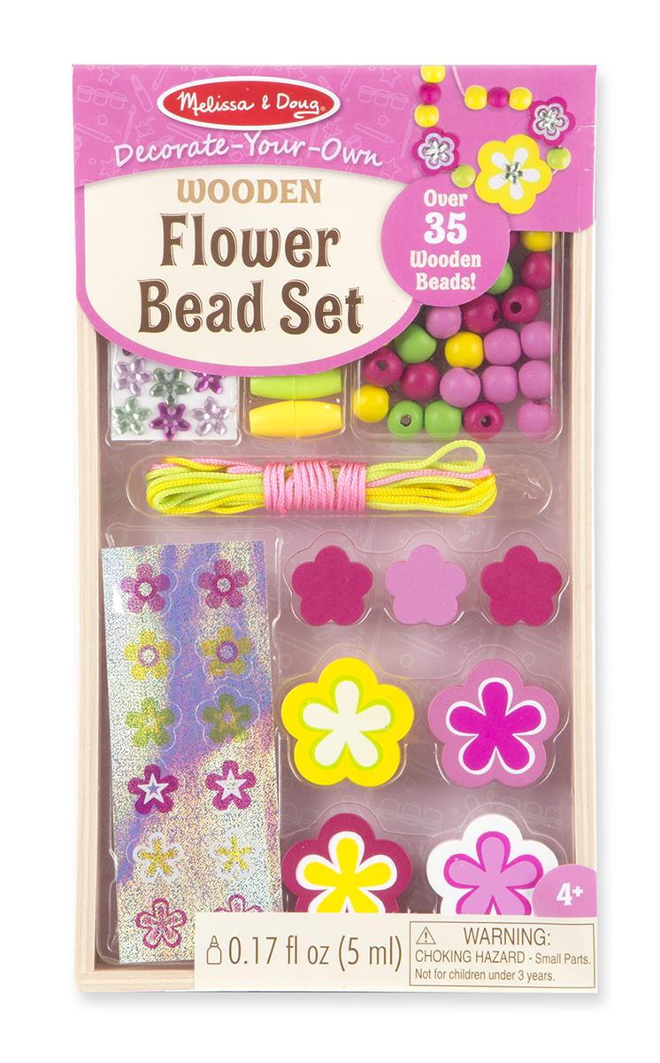 Melissa & Doug - Decorate-Your-Own Wooden Flower Bead Set