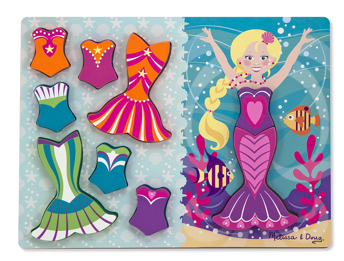 Melissa and Doug Mermaid Dress-Up Chunky Puzzle – 9 pieces