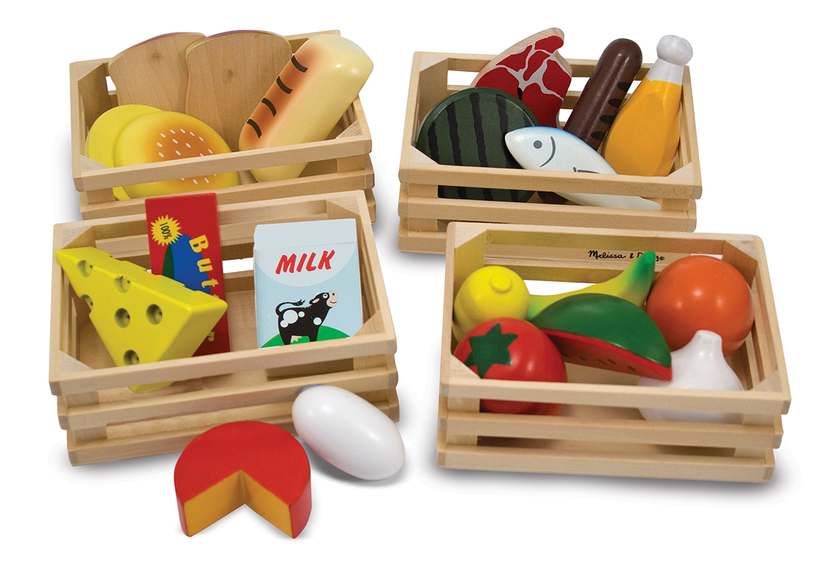 Wooden play food set food groups melissa doug for Kitchen set for 9 year old