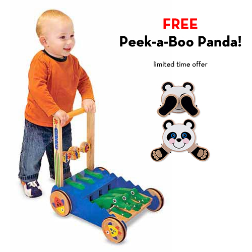 Melissa and Doug Chomp & Clack Alligator Push Toy with FREE Peek-a-Boo Panda