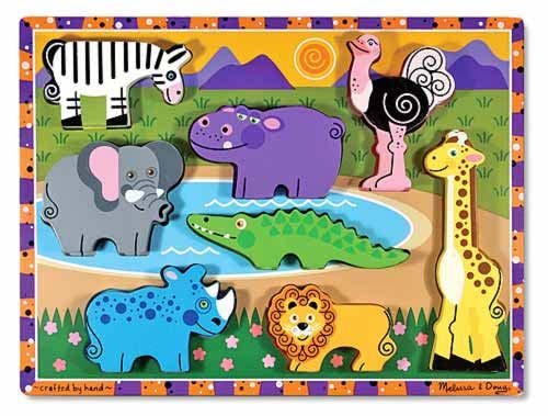 Safari Chunky Wooden Puzzle Toddler Toys Melissa Amp Doug