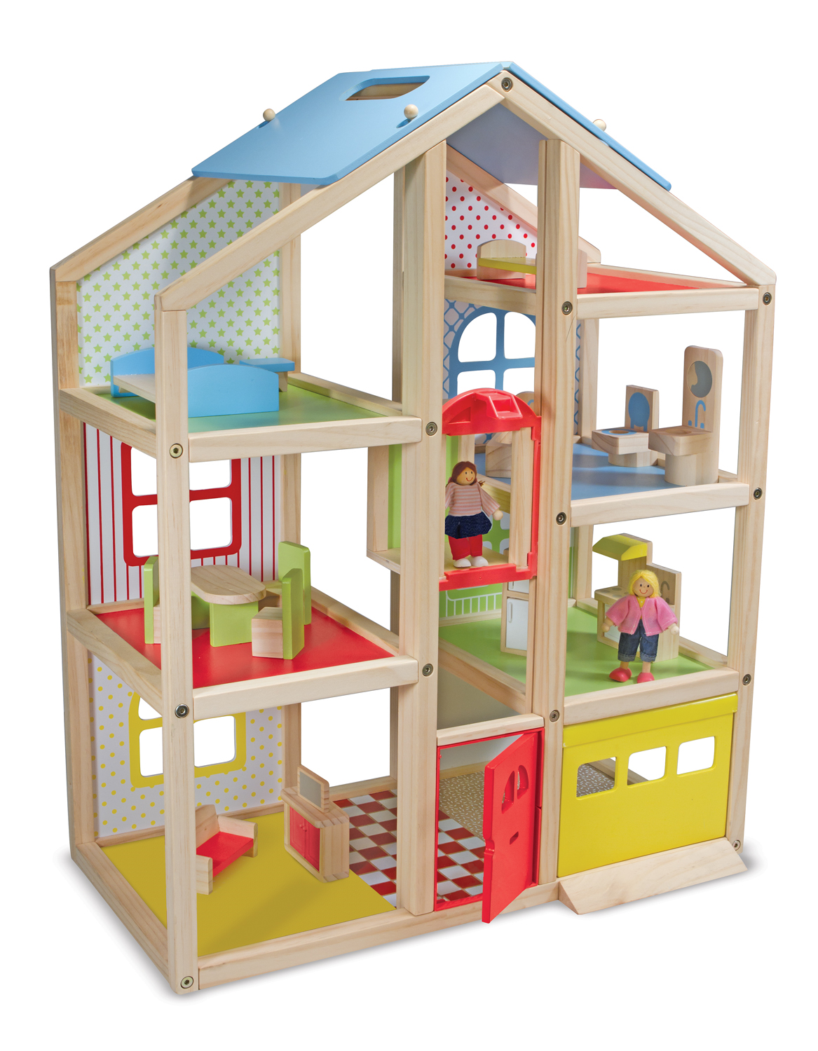 Hi rise wooden dollhouse and furniture set new melissa and doug Dollhouse wooden furniture