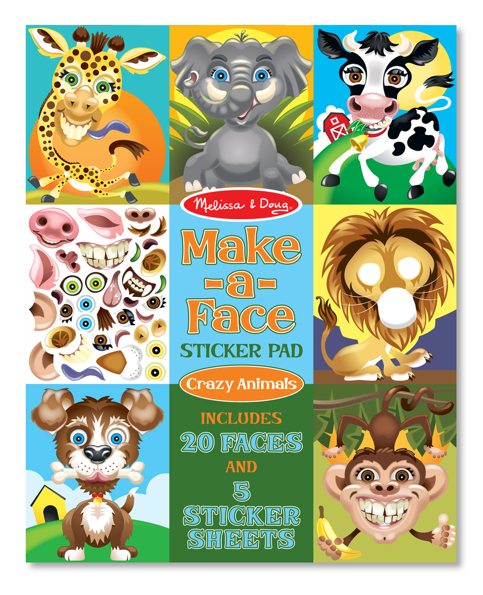 Melissa and Doug Make-a-Face Crazy Animals Sticker Pad