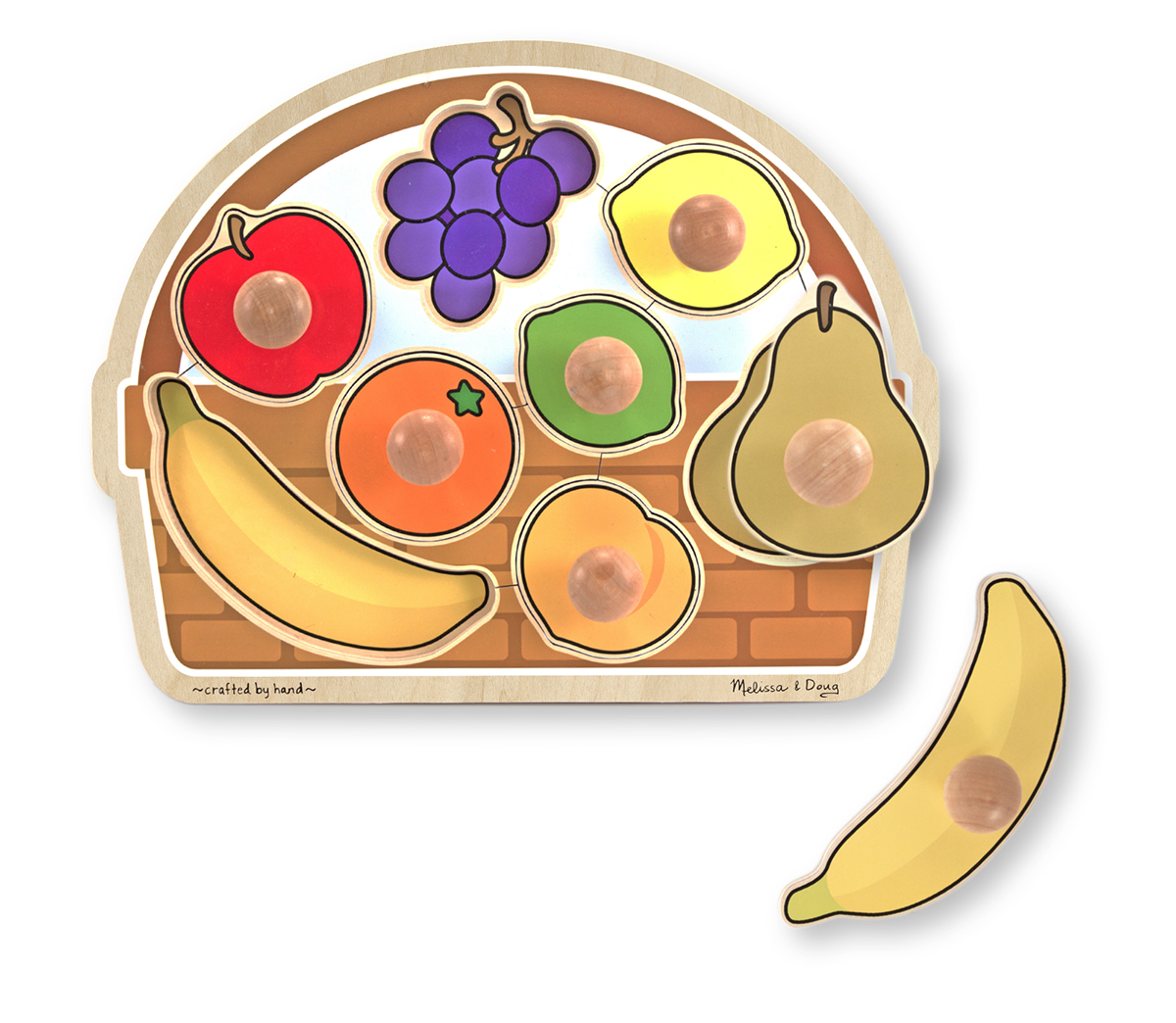 Melissa and Doug Large Fruit Basket Jumbo Knob Puzzle - 8 pieces