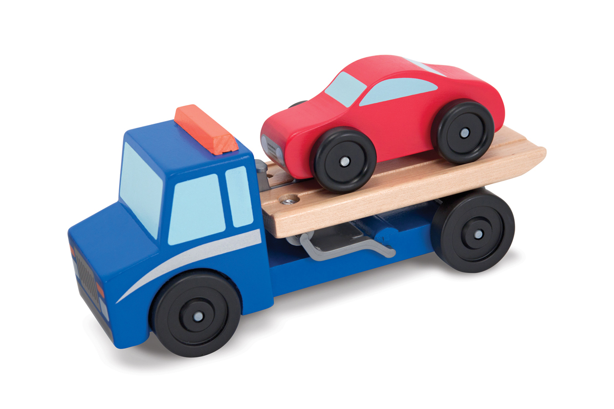 Wooden Toy Trucks For 3 Year Old : Flatbed tow truck wooden toy set melissa and doug